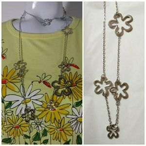Lia Sophia 60s mod hippie inspire flower necklace